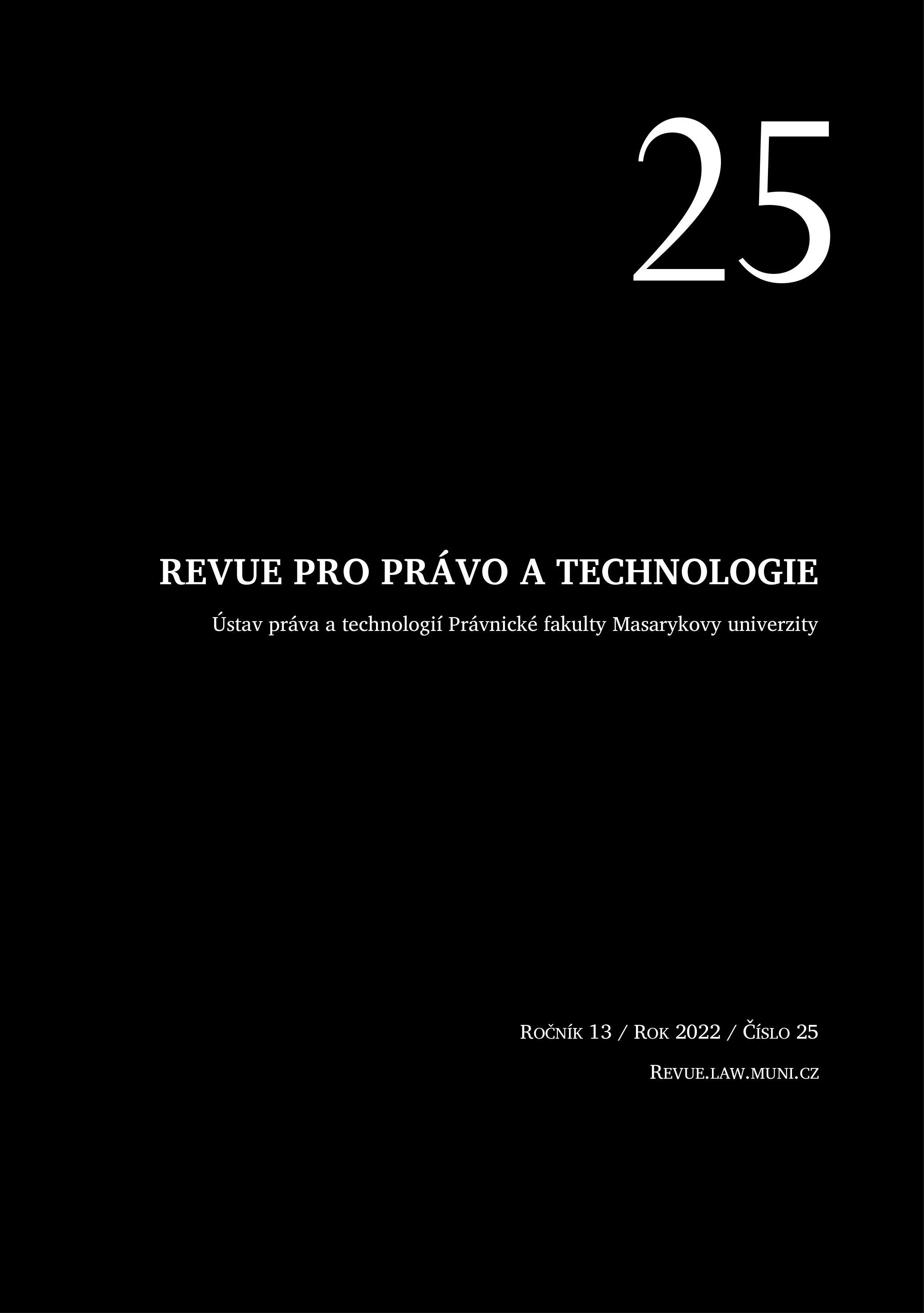Obálka Revue pro právo a technologie.